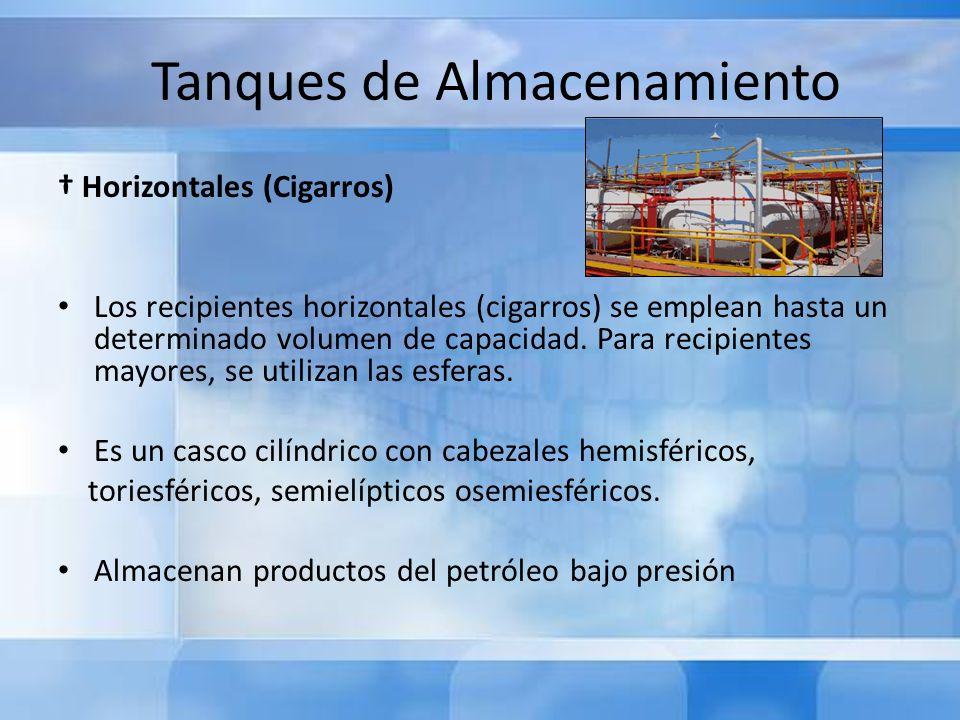 Tanques de Almacenamiento Horizontales (Cigarros) Los recipientes horizontales (cigarros) se emplean hasta un determinado volumen de capacidad. Para r
