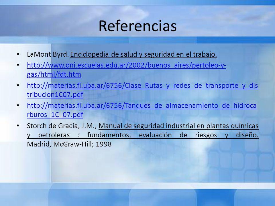 Referencias LaMont Byrd. Enciclopedia de salud y seguridad en el trabajo. http://www.oni.escuelas.edu.ar/2002/buenos_aires/pertoleo-y- gas/html/fdt.ht