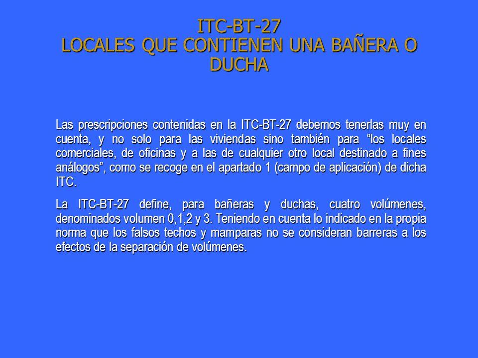 ITC-BT-27 LOCALES QUE CONTIENEN UNA BAÑERA O DUCHA Las prescripciones contenidas en la ITC-BT-27 debemos tenerlas muy en cuenta, y no solo para las vi