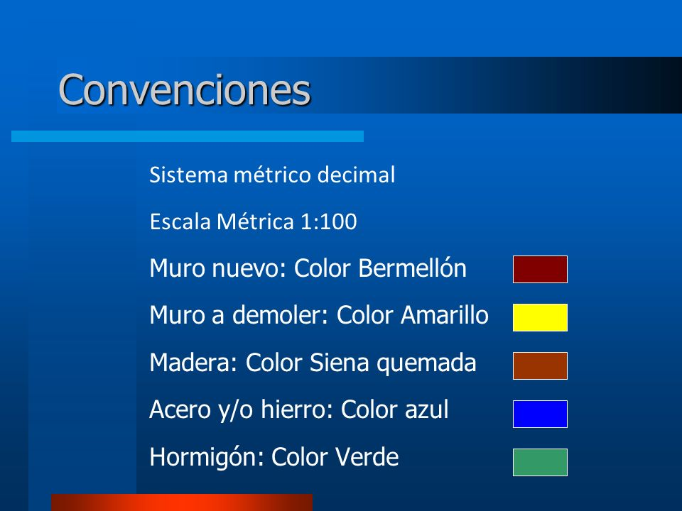 Convenciones Sistema métrico decimal Escala Métrica 1:100 Muro nuevo: Color Bermellón Muro a demoler: Color Amarillo Madera: Color Siena quemada Acero y/o hierro: Color azul Hormigón: Color Verde
