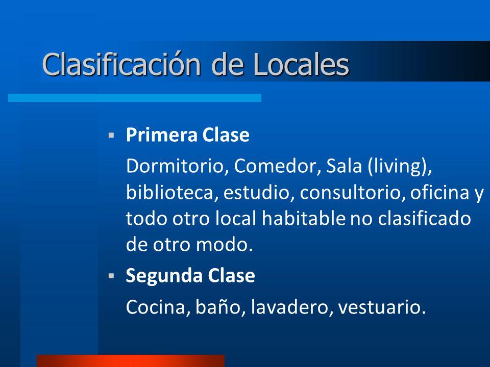 Clasificación de Locales Primera Clase Dormitorio, Comedor, Sala (living), biblioteca, estudio, consultorio, oficina y todo otro local habitable no clasificado de otro modo.