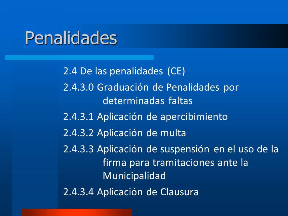 Penalidades 2.4 De las penalidades (CE) 2.4.3.0 Graduación de Penalidades por determinadas faltas 2.4.3.1 Aplicación de apercibimiento 2.4.3.2 Aplicación de multa 2.4.3.3 Aplicación de suspensión en el uso de la firma para tramitaciones ante la Municipalidad 2.4.3.4 Aplicación de Clausura