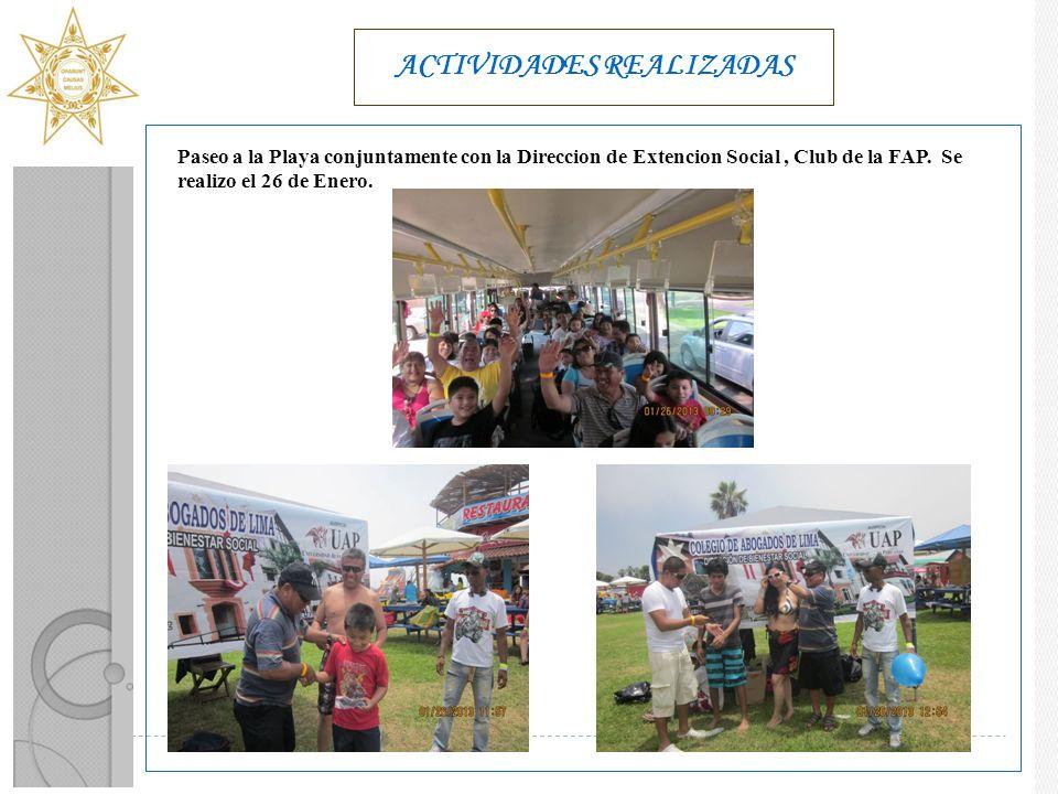 ACTIVIDADES REALIZADAS Paseo a la Playa conjuntamente con la Direccion de Extencion Social, Club de la FAP.