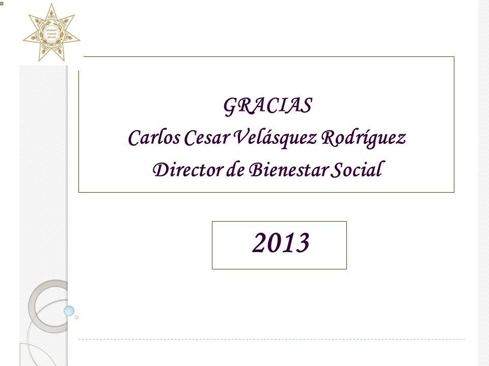 GRACIAS Carlos Cesar Velásquez Rodríguez Director de Bienestar Social 2013