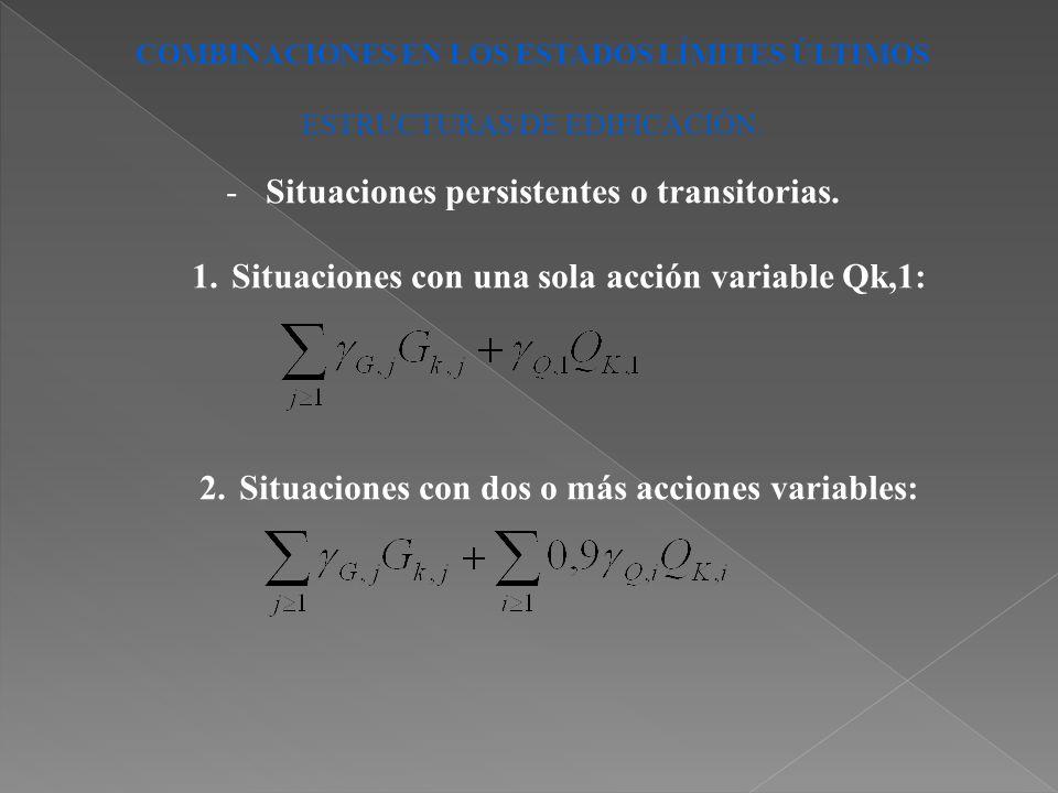 COMBINACIONES EN LOS ESTADOS LÍMITES ÚLTIMOS ESTRUCTURAS DE EDIFICACIÓN. -Situaciones persistentes o transitorias. 1.Situaciones con una sola acción v