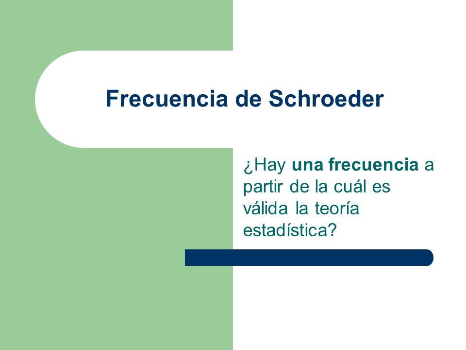 Frecuencia de Schroeder ¿Hay una frecuencia a partir de la cuál es válida la teoría estadística?