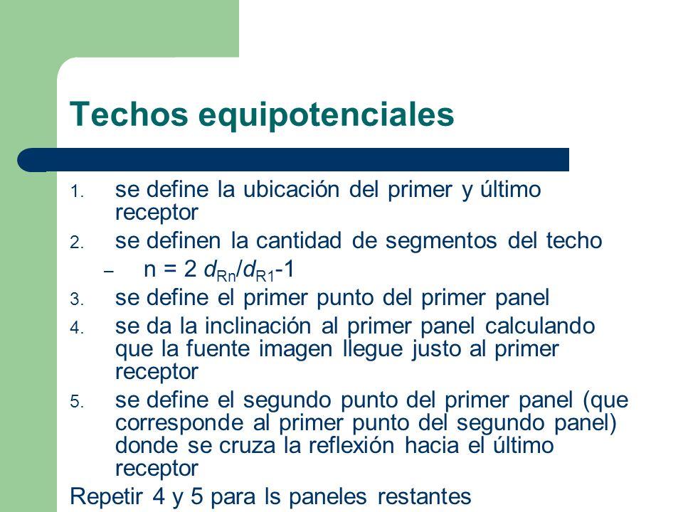 1. se define la ubicación del primer y último receptor 2. se definen la cantidad de segmentos del techo – n = 2 d Rn /d R1 -1 3. se define el primer p