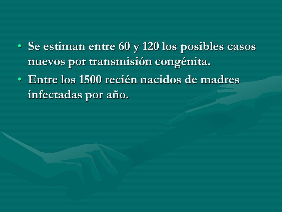 Se estiman entre 60 y 120 los posibles casos nuevos por transmisión congénita.Se estiman entre 60 y 120 los posibles casos nuevos por transmisión cong