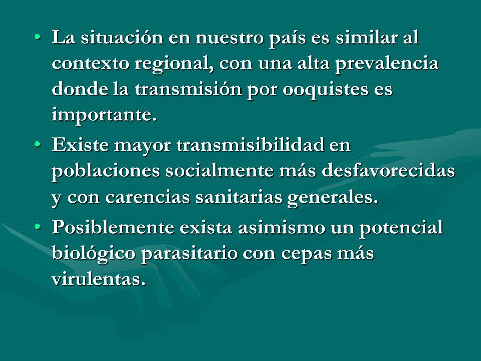 La situación en nuestro país es similar al contexto regional, con una alta prevalencia donde la transmisión por ooquistes es importante.La situación e