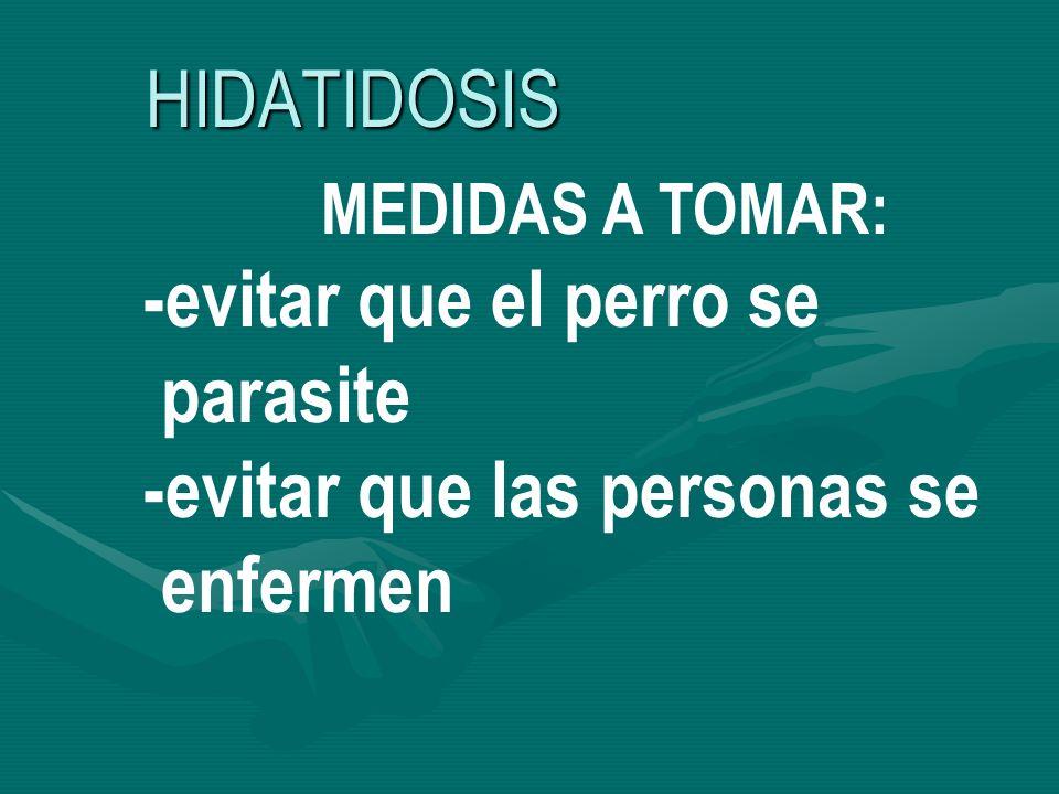 HIDATIDOSIS MEDIDAS A TOMAR: -evitar que el perro se parasite -evitar que las personas se enfermen
