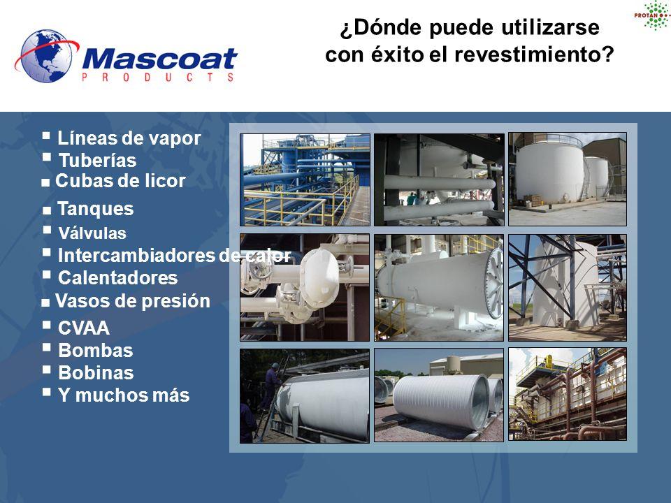 ¿Dónde puede utilizarse con éxito el revestimiento? Líneas de vapor Tuberías Cubas de licor Tanques Bombas Bobinas Y muchos más Válvulas Intercambiado