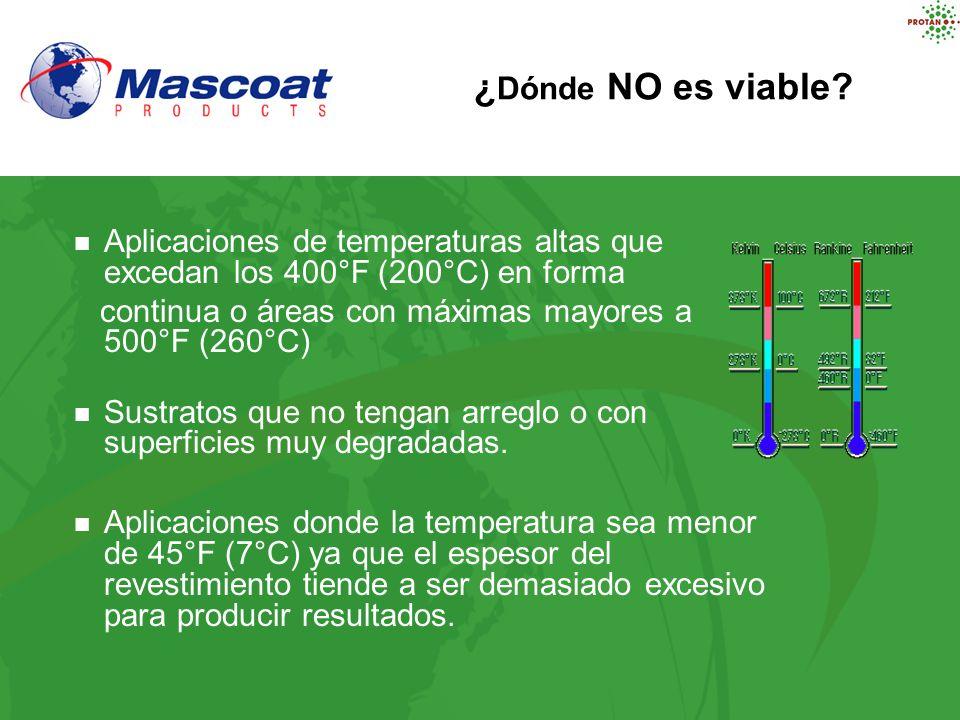 Aplicaciones de temperaturas altas que excedan los 400°F (200°C) en forma continua o áreas con máximas mayores a 500°F (260°C) Sustratos que no tengan