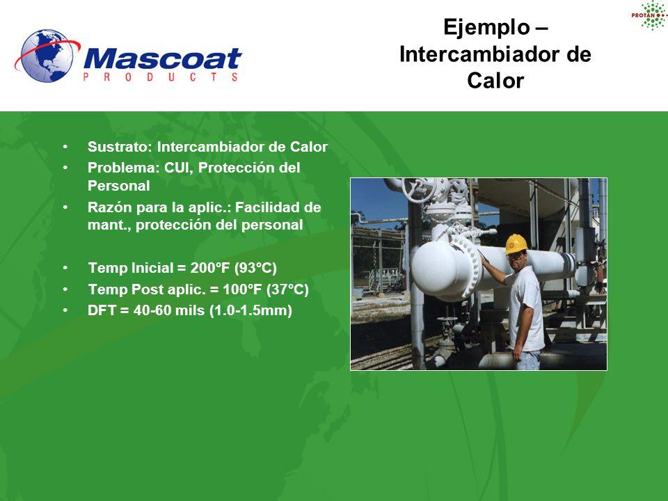 Ejemplo – Intercambiador de Calor Sustrato: Intercambiador de Calor Problema: CUI, Protección del Personal Razón para la aplic.: Facilidad de mant., p