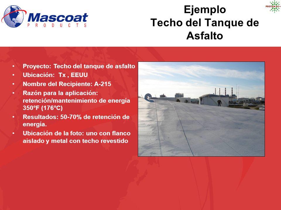 Ejemplo Techo del Tanque de Asfalto Proyecto: Techo del tanque de asfalto Ubicación: Tx, EEUU Nombre del Recipiente: A-215 Razón para la aplicación: r