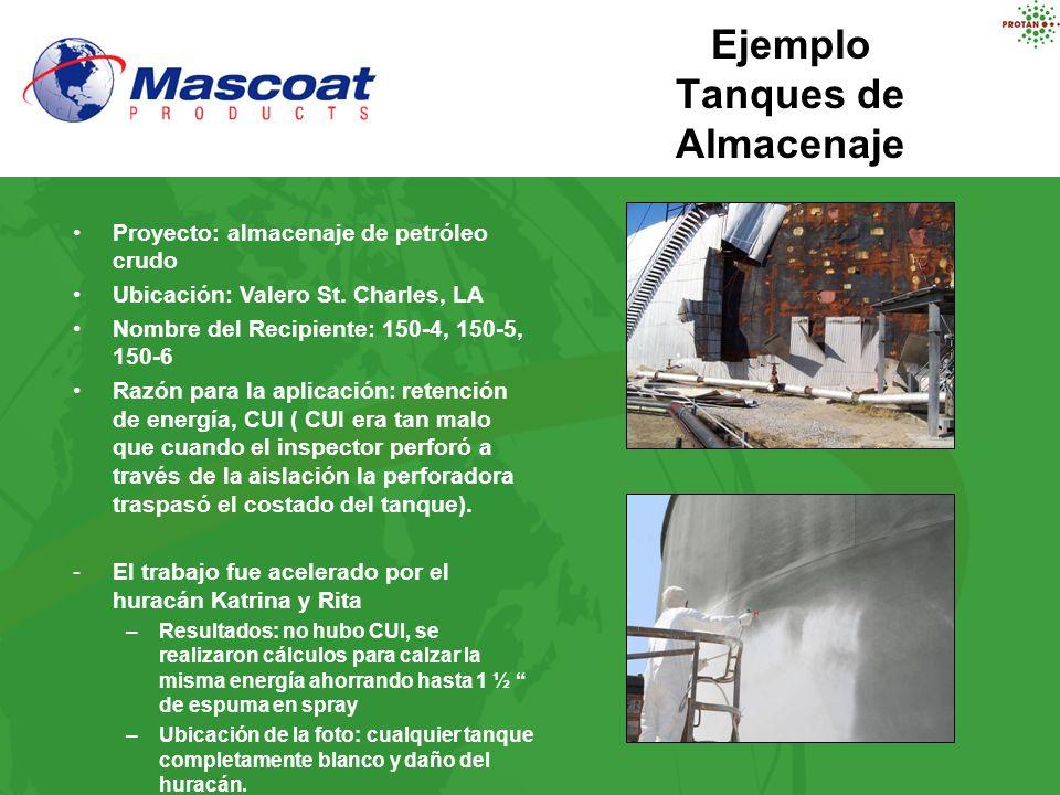 Ejemplo Tanques de Almacenaje Proyecto: almacenaje de petróleo crudo Ubicación: Valero St. Charles, LA Nombre del Recipiente: 150-4, 150-5, 150-6 Razó