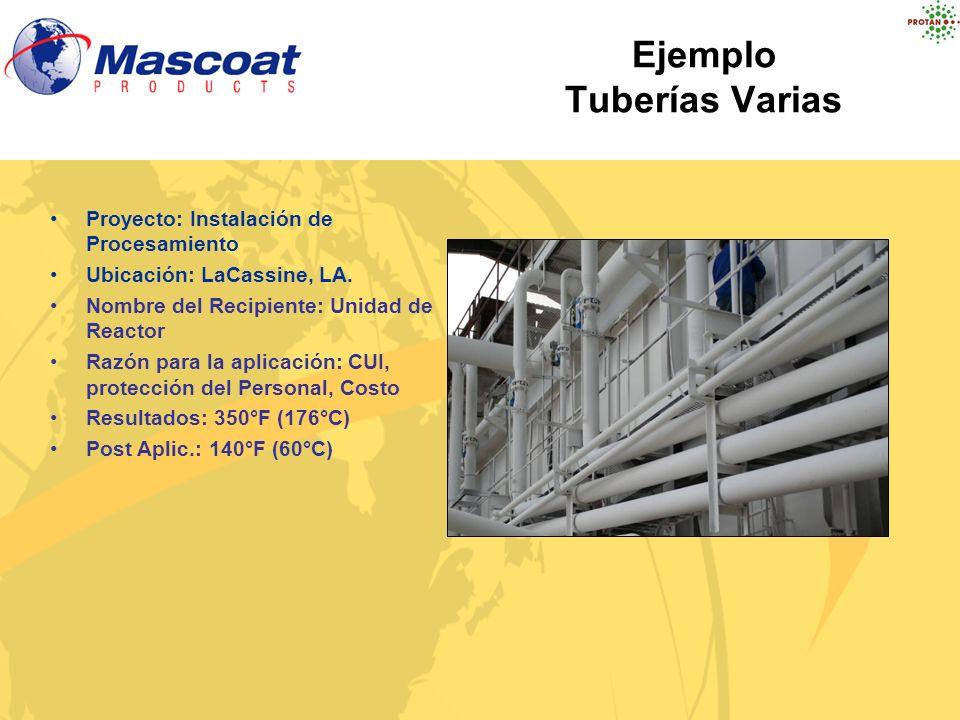 Ejemplo Tuberías Varias Proyecto: Instalación de Procesamiento Ubicación: LaCassine, LA. Nombre del Recipiente: Unidad de Reactor Razón para la aplica