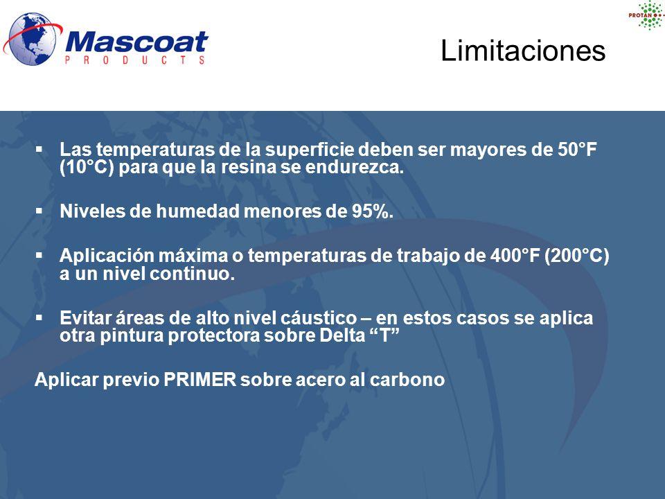 Las temperaturas de la superficie deben ser mayores de 50°F (10°C) para que la resina se endurezca. Niveles de humedad menores de 95%. Aplicación máxi