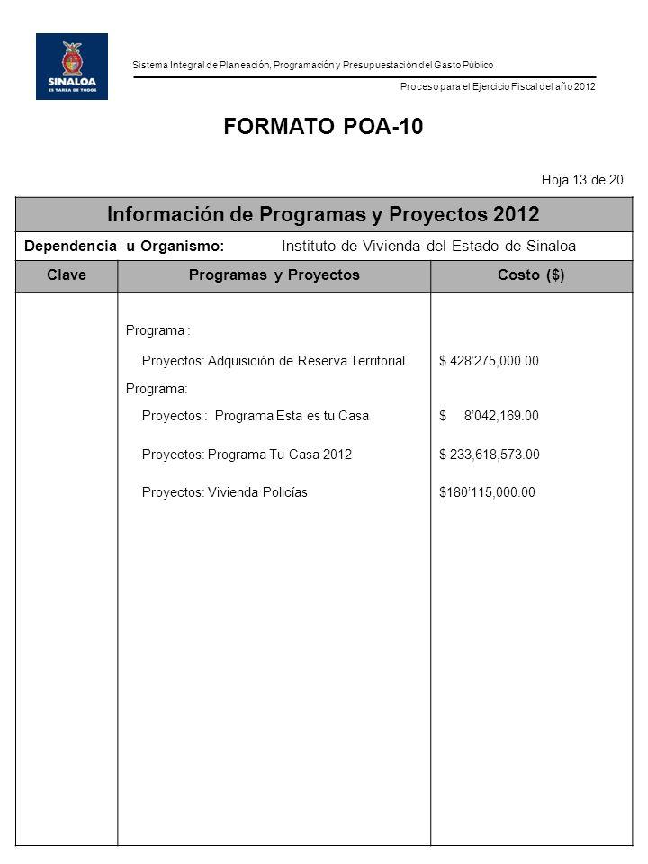 Sistema Integral de Planeación, Programación y Presupuestación del Gasto Público Proceso para el Ejercicio Fiscal del año 2012 FORMATO POA-10 Hoja 13 de 20 Información de Programas y Proyectos 2012 Dependencia u Organismo:Instituto de Vivienda del Estado de Sinaloa ClaveProgramas y ProyectosCosto ($) Programa : Proyectos: Adquisición de Reserva Territorial$ 428275,000.00 Programa: Proyectos : Programa Esta es tu Casa Proyectos: Programa Tu Casa 2012 Proyectos: Vivienda Policías $ 8042,169.00 $ 233,618,573.00 $180115,000.00