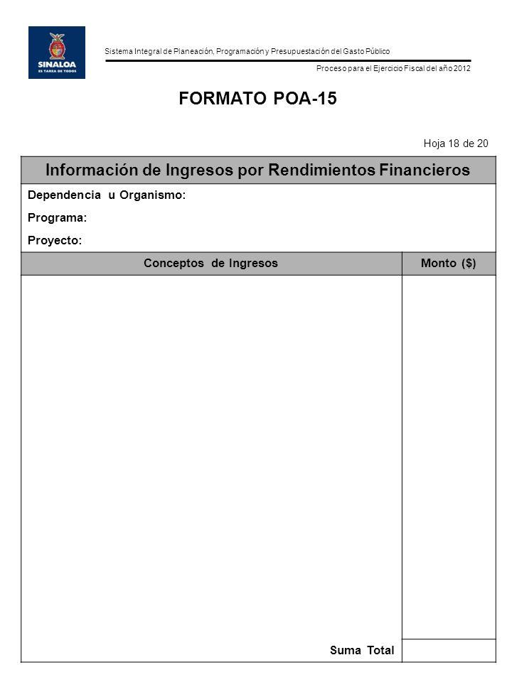 Sistema Integral de Planeación, Programación y Presupuestación del Gasto Público Proceso para el Ejercicio Fiscal del año 2012 FORMATO POA-15 Hoja 18 de 20 Información de Ingresos por Rendimientos Financieros Dependencia u Organismo: Programa: Proyecto: Conceptos de IngresosMonto ($) Suma Total