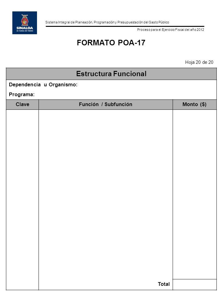 Sistema Integral de Planeación, Programación y Presupuestación del Gasto Público Proceso para el Ejercicio Fiscal del año 2012 FORMATO POA-17 Hoja 20 de 20 Estructura Funcional Dependencia u Organismo: Programa: ClaveFunción / SubfunciónMonto ($) Total