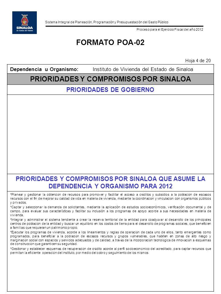 Sistema Integral de Planeación, Programación y Presupuestación del Gasto Público Proceso para el Ejercicio Fiscal del año 2012 FORMATO POA-02 Hoja 4 de 20 Dependencia u Organismo:Instituto de Vivienda del Estado de Sinaloa PRIORIDADES Y COMPROMISOS POR SINALOA PRIORIDADES DE GOBIERNO PRIORIDADES Y COMPROMISOS POR SINALOA QUE ASUME LA DEPENDENCIA Y ORGANISMO PARA 2012 *Planear y gestionar la obtenci ó n de recursos para promover y facilitar el acceso a cr é ditos y subsidios a la poblaci ó n de escasos recursos con el fin de mejorar su calidad de vida en materia de vivienda, mediante la coordinaci ó n y vinculaci ó n con organismos p ú blicos y privados.