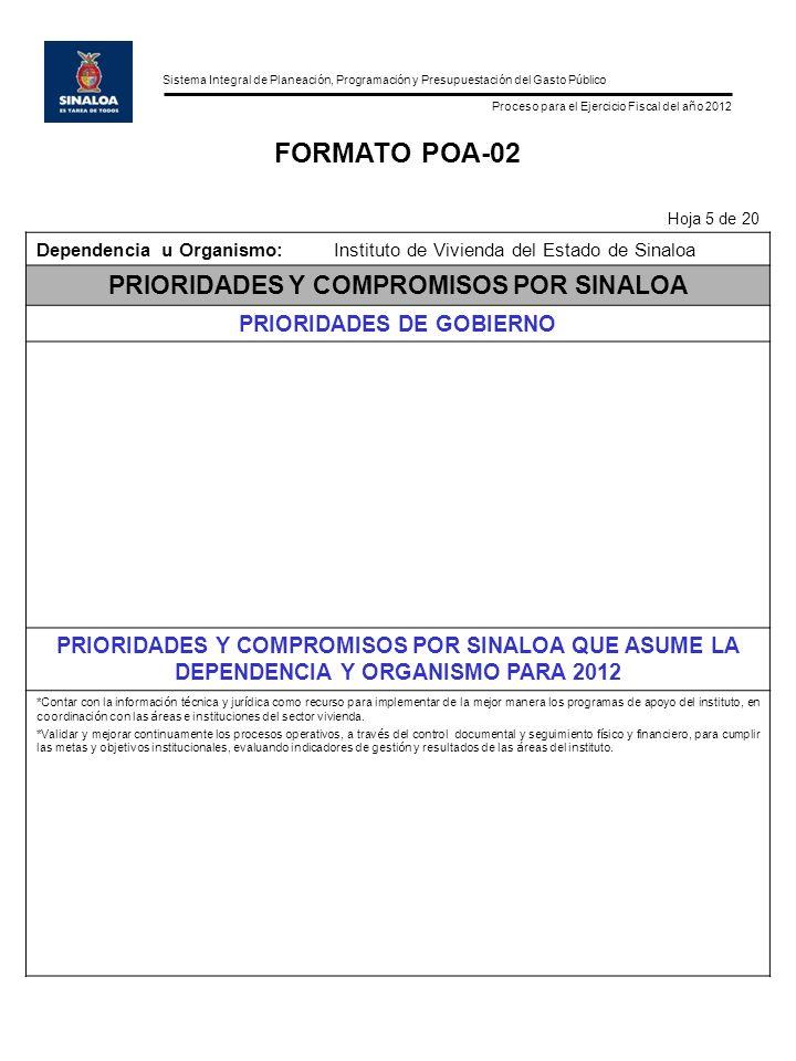Sistema Integral de Planeación, Programación y Presupuestación del Gasto Público Proceso para el Ejercicio Fiscal del año 2012 FORMATO POA-02 Hoja 5 de 20 Dependencia u Organismo:Instituto de Vivienda del Estado de Sinaloa PRIORIDADES Y COMPROMISOS POR SINALOA PRIORIDADES DE GOBIERNO PRIORIDADES Y COMPROMISOS POR SINALOA QUE ASUME LA DEPENDENCIA Y ORGANISMO PARA 2012 *Contar con la informaci ó n t é cnica y jur í dica como recurso para implementar de la mejor manera los programas de apoyo del instituto, en coordinaci ó n con las á reas e instituciones del sector vivienda.