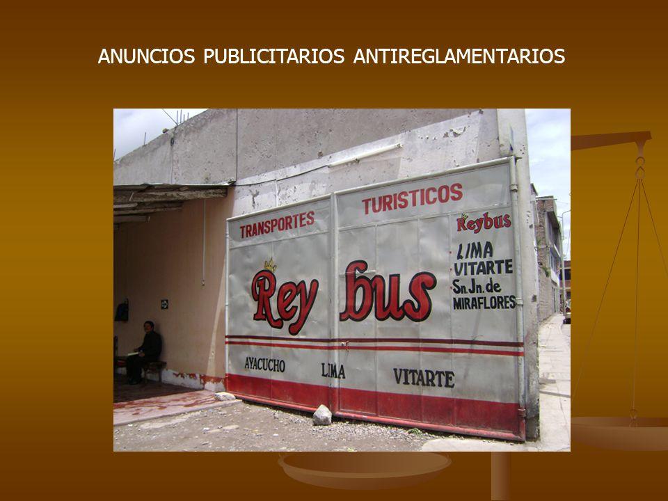 ANUNCIOS PUBLICITARIOS ANTIREGLAMENTARIOS