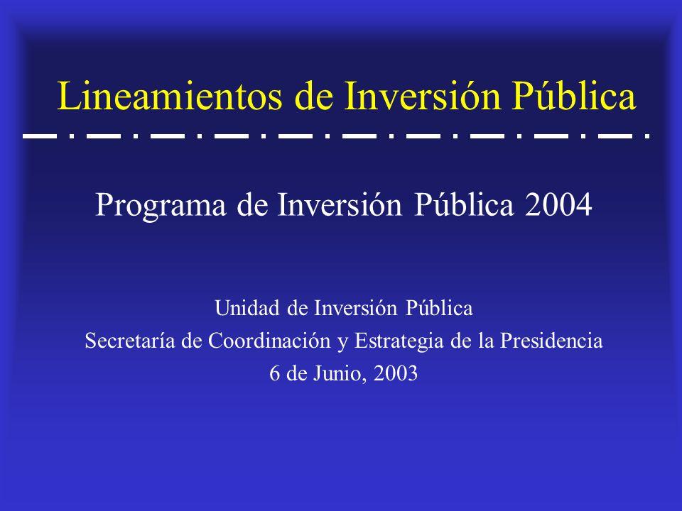 Lineamientos de Inversión Pública Unidad de Inversión Pública Secretaría de Coordinación y Estrategia de la Presidencia 6 de Junio, 2003 Programa de Inversión Pública 2004