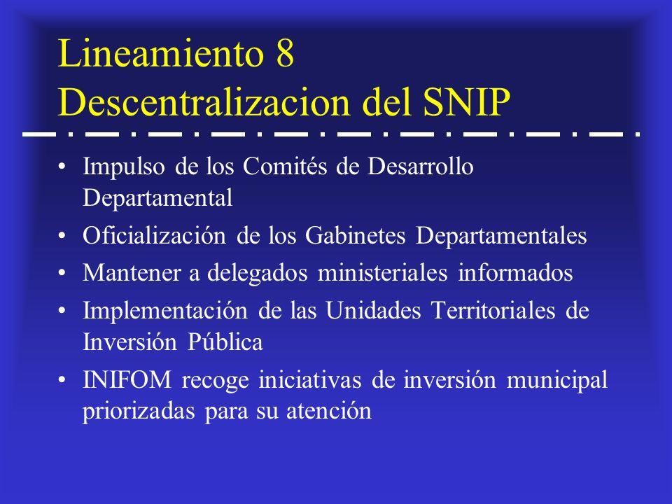 Lineamiento 8 Descentralizacion del SNIP Impulso de los Comités de Desarrollo Departamental Oficialización de los Gabinetes Departamentales Mantener a delegados ministeriales informados Implementación de las Unidades Territoriales de Inversión Pública INIFOM recoge iniciativas de inversión municipal priorizadas para su atención