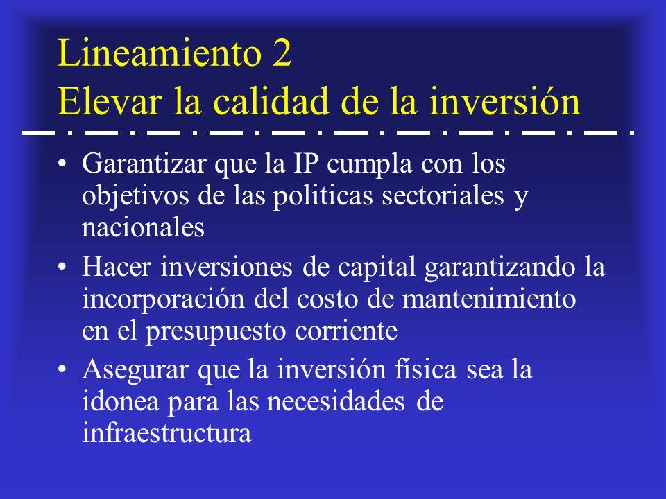 Lineamiento 2 Elevar la calidad de la inversión Garantizar que la IP cumpla con los objetivos de las politicas sectoriales y nacionales Hacer inversiones de capital garantizando la incorporación del costo de mantenimiento en el presupuesto corriente Asegurar que la inversión física sea la idonea para las necesidades de infraestructura