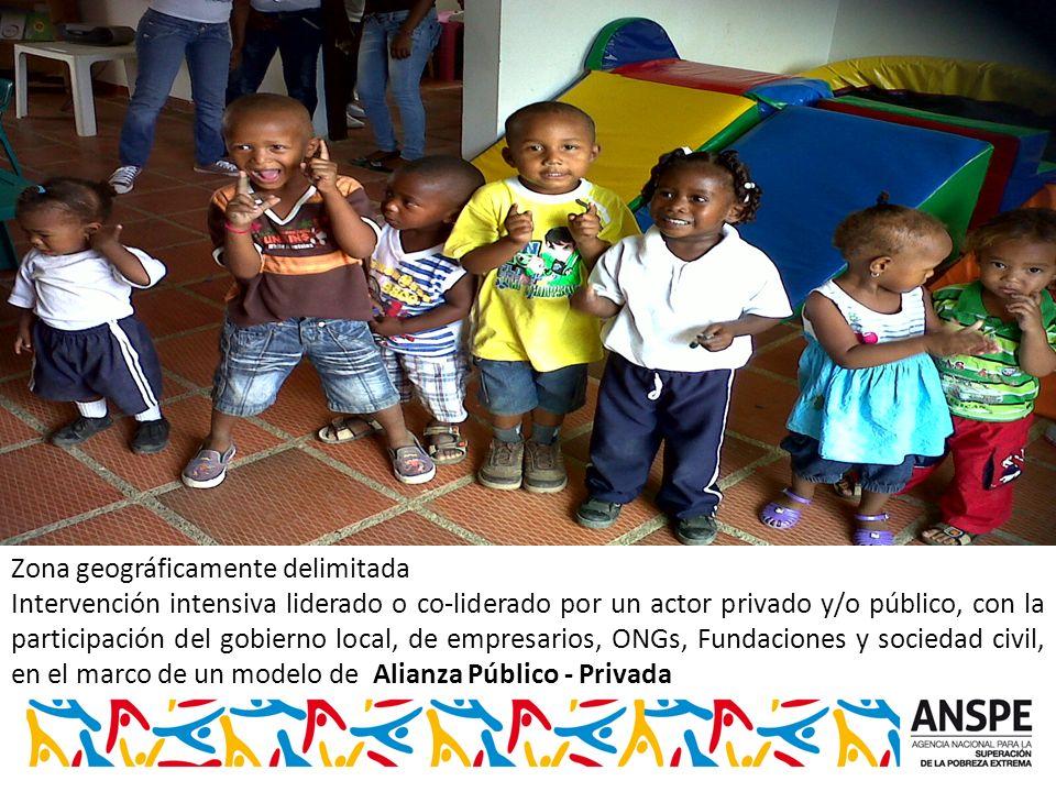 Zona geográficamente delimitada Intervención intensiva liderado o co-liderado por un actor privado y/o público, con la participación del gobierno local, de empresarios, ONGs, Fundaciones y sociedad civil, en el marco de un modelo de Alianza Público - Privada