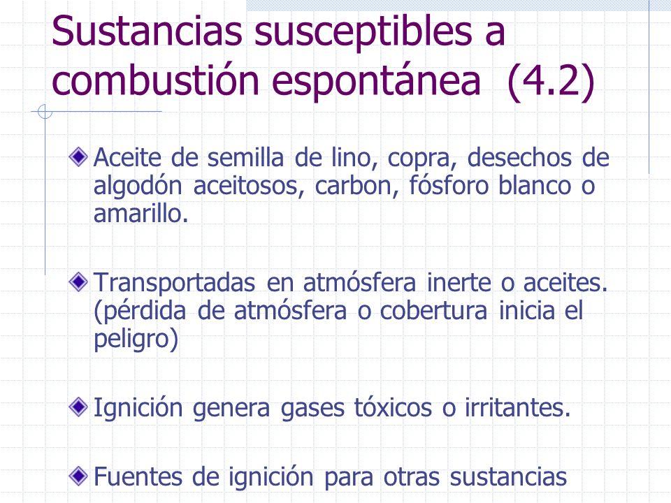 Sustancias susceptibles a combustión espontánea (4.2) Aceite de semilla de lino, copra, desechos de algodón aceitosos, carbon, fósforo blanco o amaril