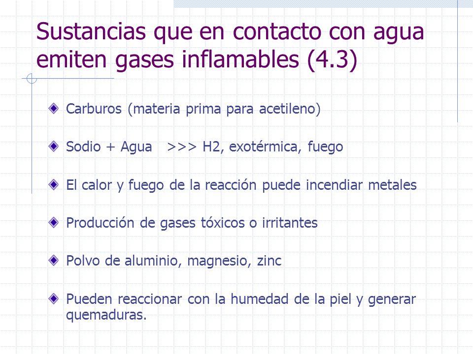 Sustancias que en contacto con agua emiten gases inflamables (4.3) Carburos (materia prima para acetileno) Sodio + Agua >>> H2, exotérmica, fuego El c
