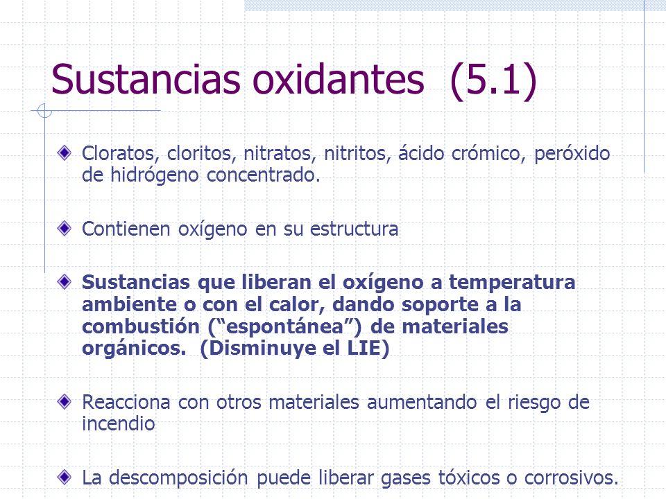 Sustancias oxidantes (5.1) Cloratos, cloritos, nitratos, nitritos, ácido crómico, peróxido de hidrógeno concentrado. Contienen oxígeno en su estructur
