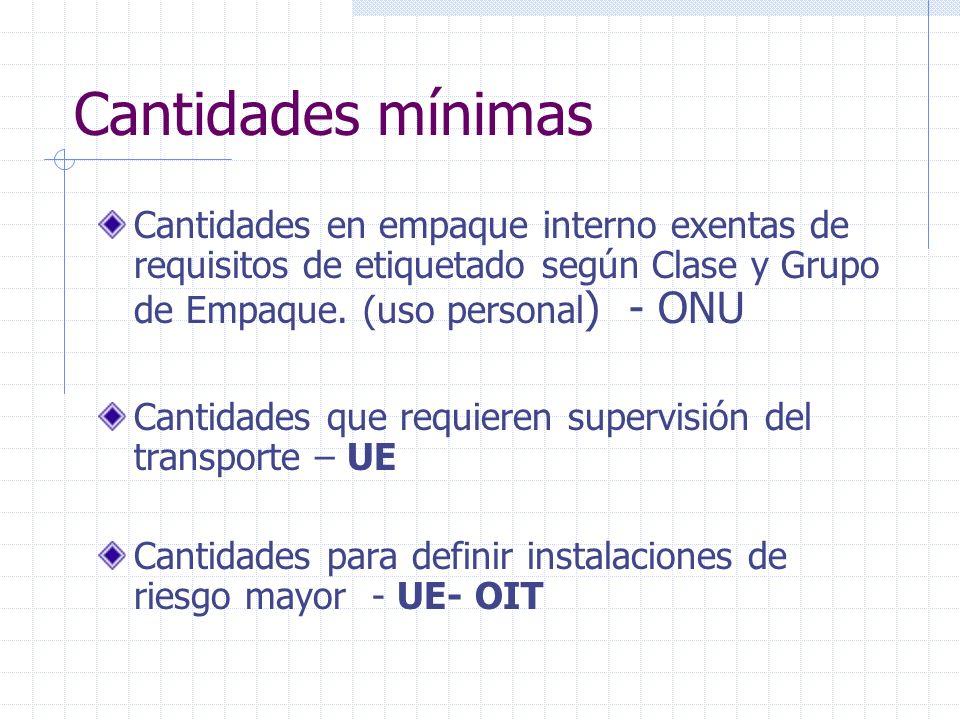 Cantidades mínimas Cantidades en empaque interno exentas de requisitos de etiquetado según Clase y Grupo de Empaque. (uso personal ) - ONU Cantidades