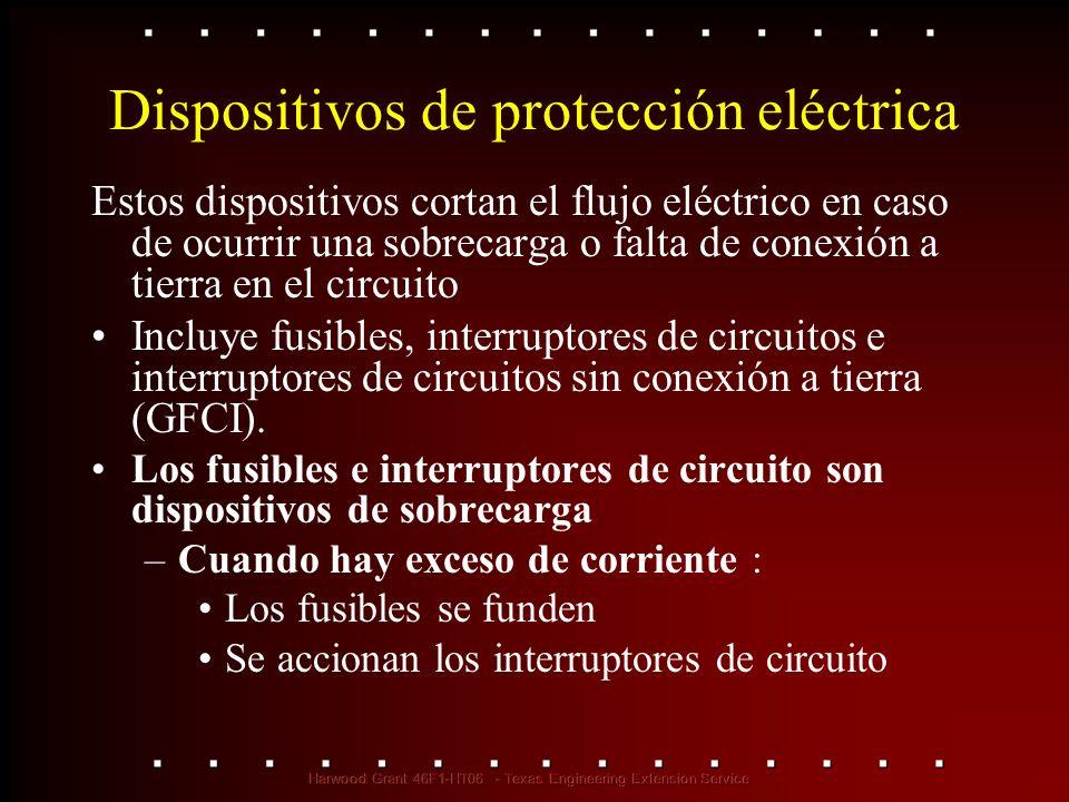 Dispositivos de protección eléctrica Estos dispositivos cortan el flujo eléctrico en caso de ocurrir una sobrecarga o falta de conexión a tierra en el