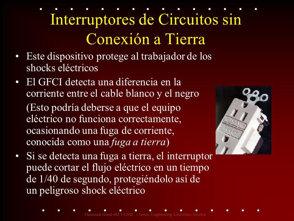 Interruptores de Circuitos sin Conexión a Tierra Este dispositivo protege al trabajador de los shocks eléctricos El GFCI detecta una diferencia en la