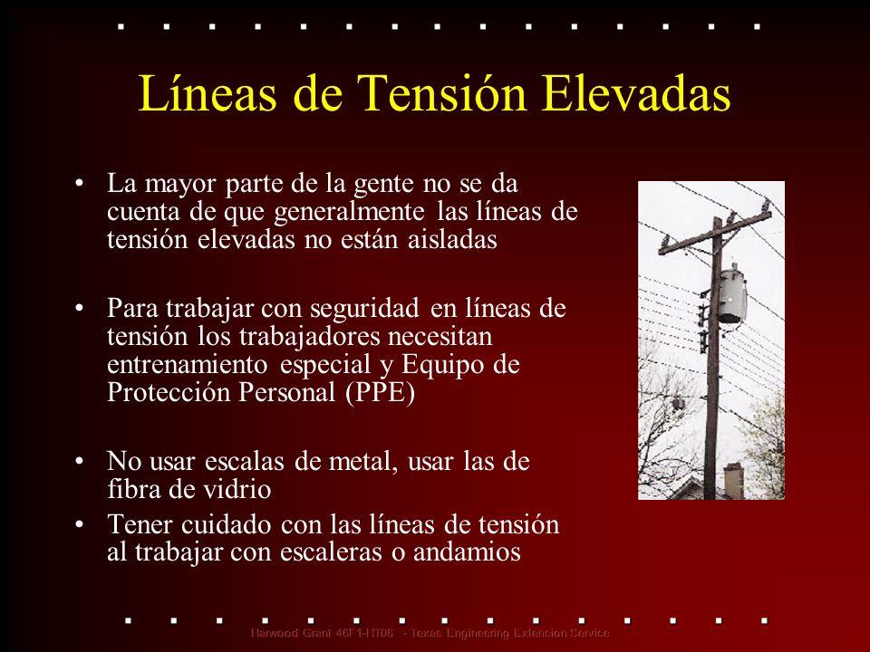 Líneas de Tensión Elevadas La mayor parte de la gente no se da cuenta de que generalmente las líneas de tensión elevadas no están aisladas Para trabaj