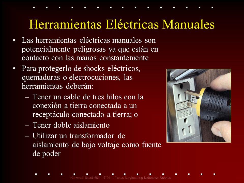 Herramientas Eléctricas Manuales Las herramientas eléctricas manuales son potencialmente peligrosas ya que están en contacto con las manos constanteme