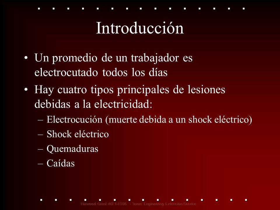 Introducción Un promedio de un trabajador es electrocutado todos los días Hay cuatro tipos principales de lesiones debidas a la electricidad: –Electro