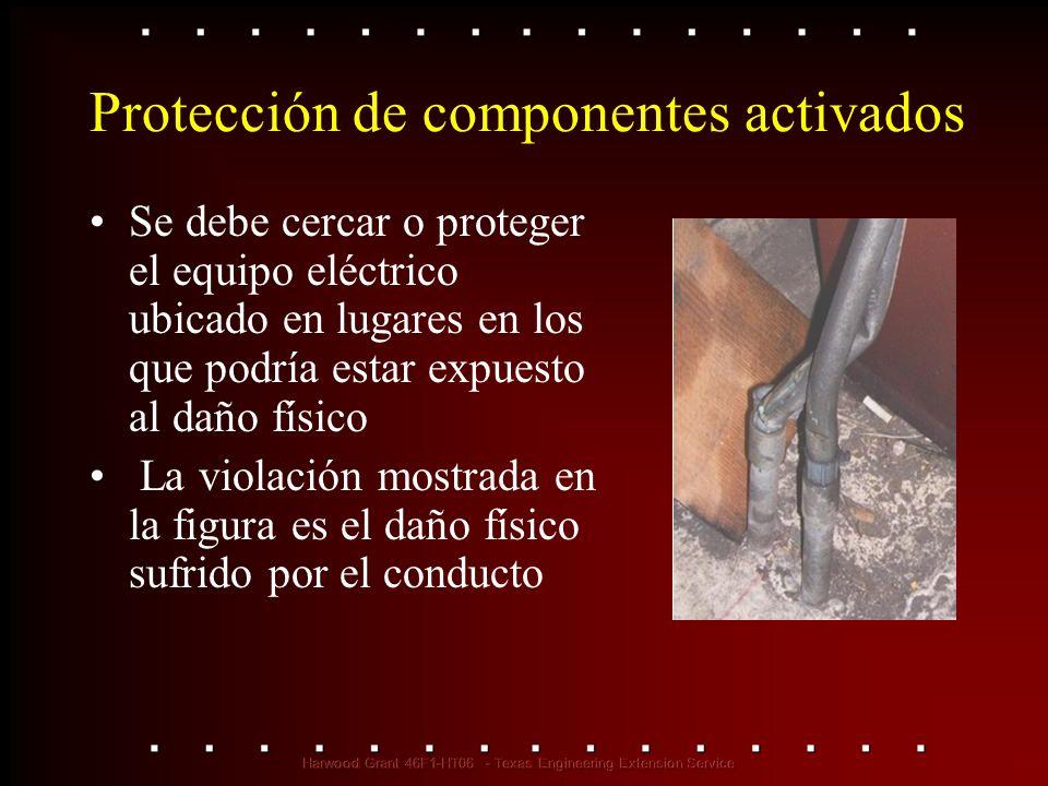Protección de componentes activados Se debe cercar o proteger el equipo eléctrico ubicado en lugares en los que podría estar expuesto al daño físico L