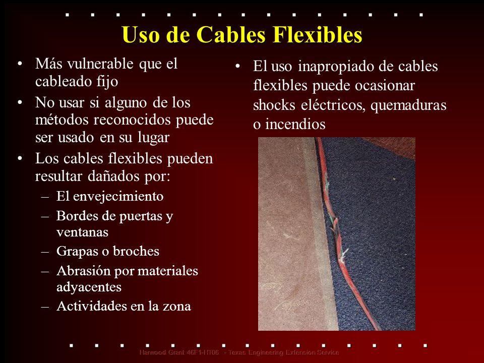 Uso de Cables Flexibles Más vulnerable que el cableado fijo No usar si alguno de los métodos reconocidos puede ser usado en su lugar Los cables flexib