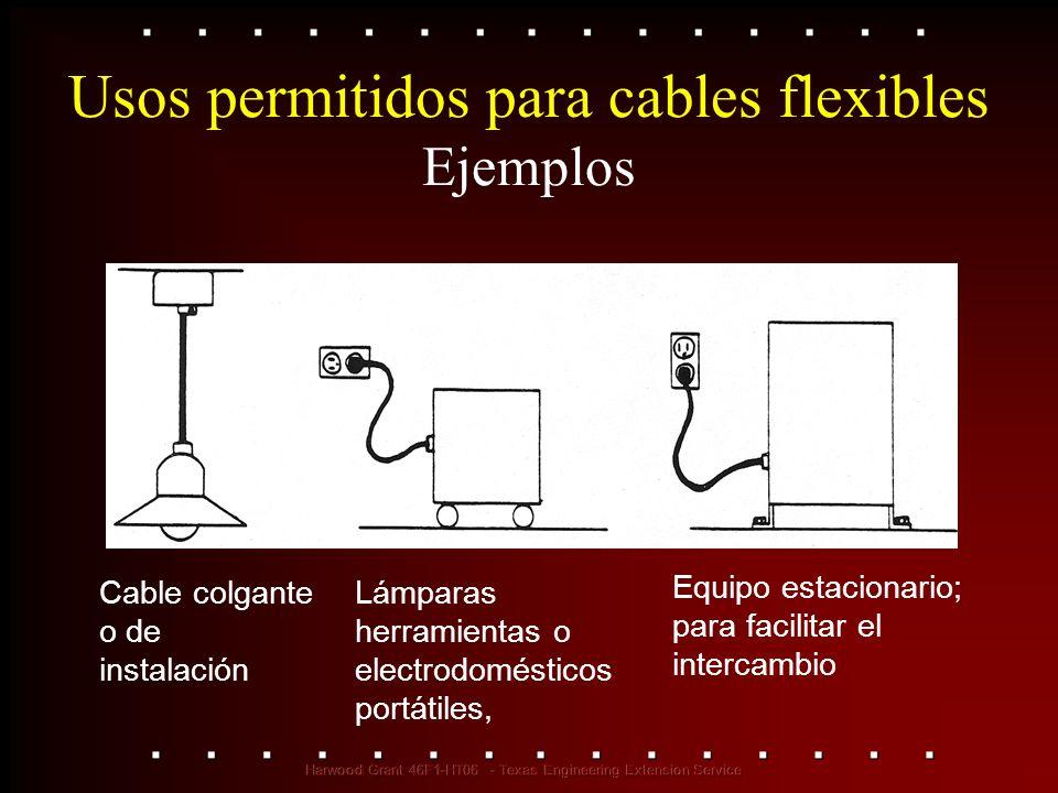 Usos permitidos para cables flexibles Ejemplos Cable colgante o de instalación Lámparas herramientas o electrodomésticos portátiles, Equipo estacionar
