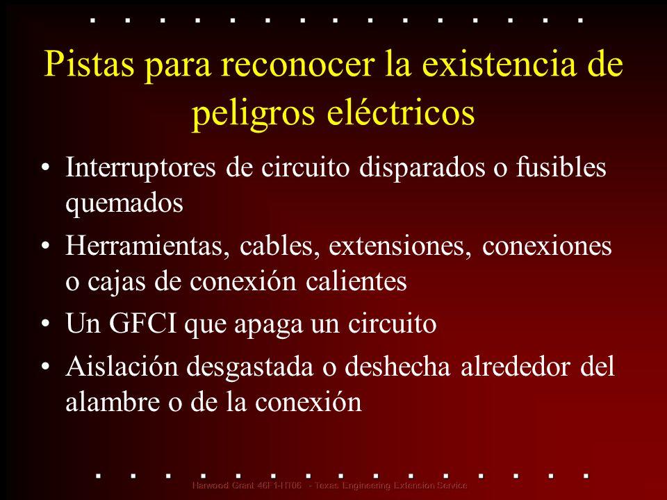Pistas para reconocer la existencia de peligros eléctricos Interruptores de circuito disparados o fusibles quemados Herramientas, cables, extensiones,