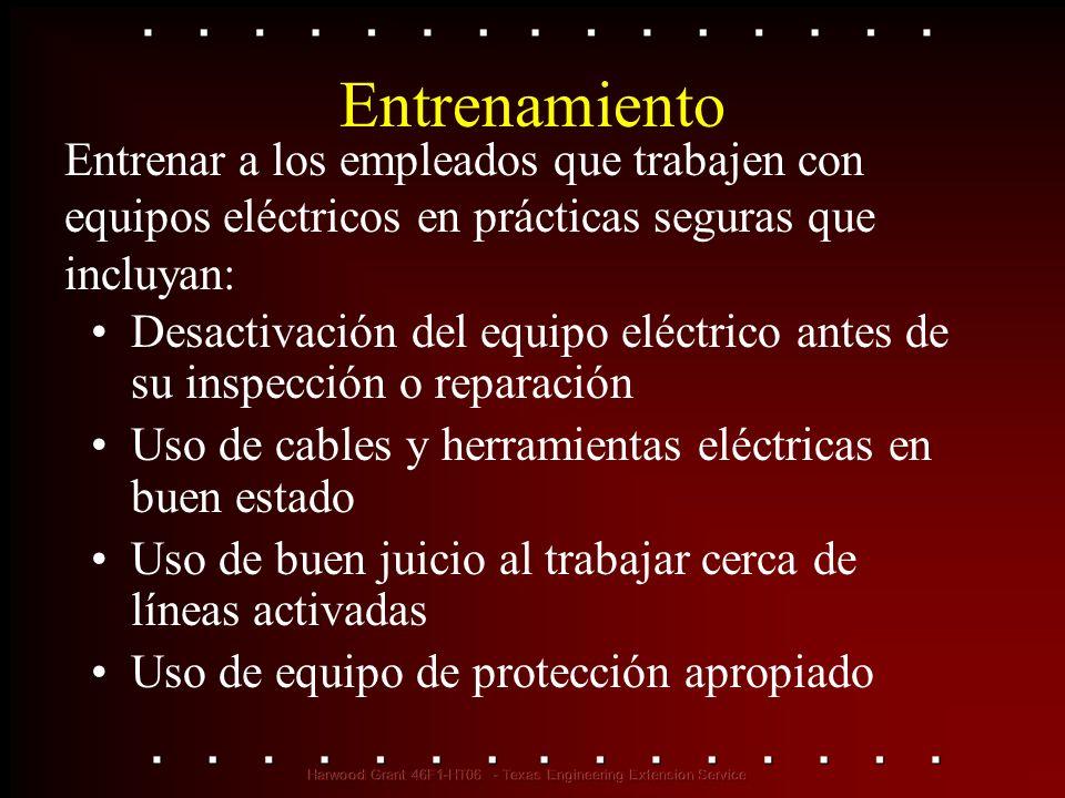 Entrenamiento Desactivación del equipo eléctrico antes de su inspección o reparación Uso de cables y herramientas eléctricas en buen estado Uso de bue