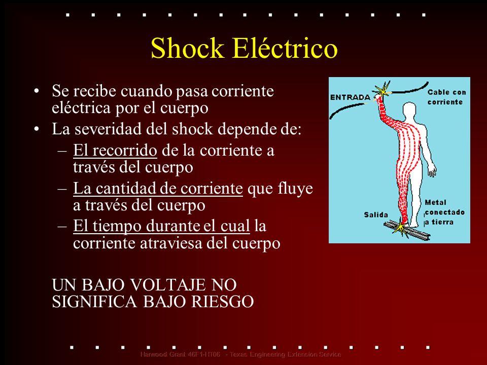 Peligros del Shock Eléctrico Las corrientes de más de 75 mA* pueden causar fibrilación (un latido del corazón rápido e inefectivo) Produce la muerte en pocos minutos a menos que se use un desfibrilador 75 mA no es mucha corriente (una pequeña agujereadora eléctrica usa 30 veces esa cantidad) * mA = miliamperio = 1/1,000 de amperio Desfibrilador en uso