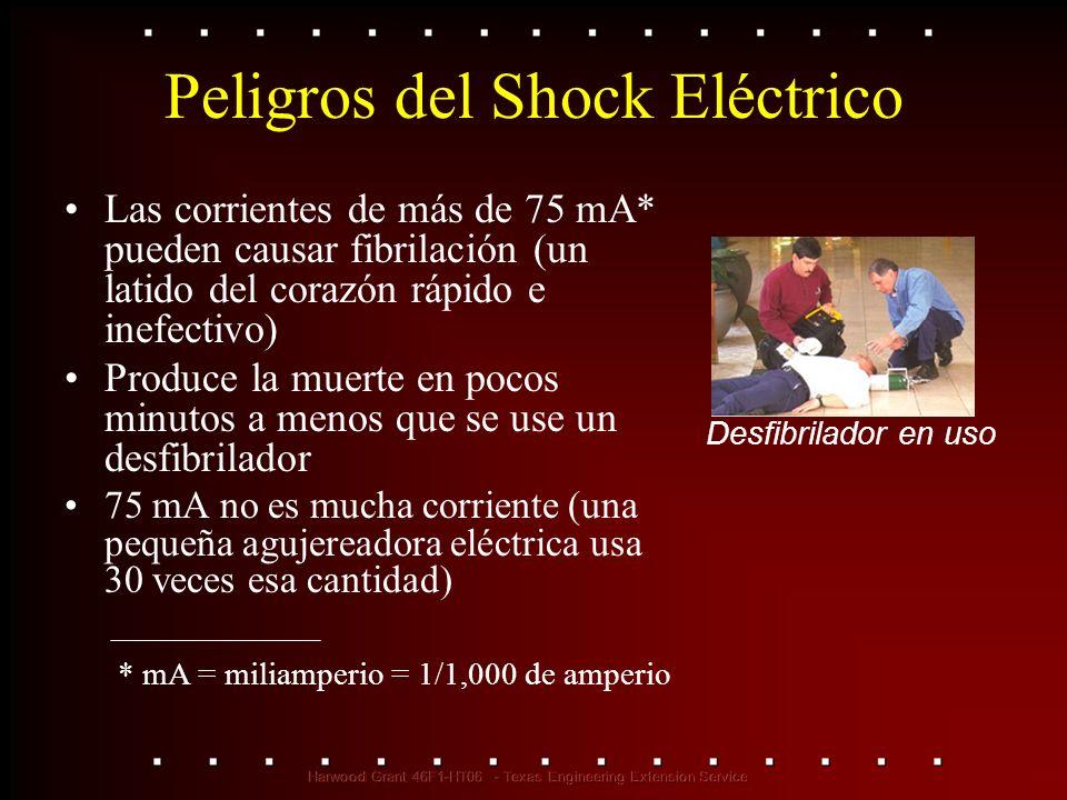 Peligros del Shock Eléctrico Las corrientes de más de 75 mA* pueden causar fibrilación (un latido del corazón rápido e inefectivo) Produce la muerte e