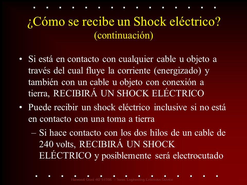 ¿Cómo se recibe un Shock eléctrico? (continuación) Si está en contacto con cualquier cable u objeto a través del cual fluye la corriente (energizado)