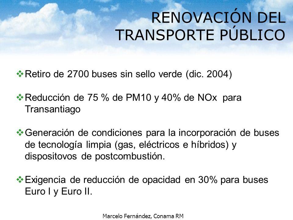 Marcelo Fernández, Conama RM vRetiro de 2700 buses sin sello verde (dic. 2004) vReducción de 75 % de PM10 y 40% de NOx para Transantiago vGeneración d