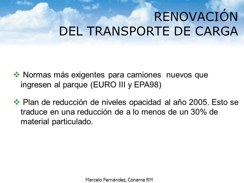 Marcelo Fernández, Conama RM v Normas más exigentes para camiones nuevos que ingresen al parque (EURO III y EPA98) v Plan de reducción de niveles opac